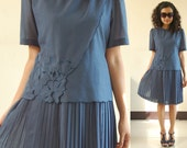 RESERVED until Friday : SALE Dress blue embroidery 70s pleats