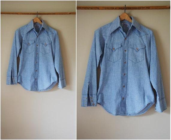 70s Mens Chambray Western Pearly Snap Shirt