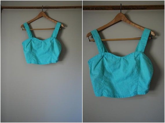 80s/90s Mint Green Paisley Cropped Bandeau Top