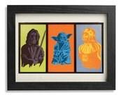 "Laser print 8""x11"", Star wars inspired, with Obi Wan Kenobi, Yoda, Darth Vader pop art, cm 30 x 20"