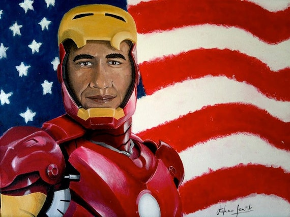 """The avengers series: Barack Obama says """"I am Ironman"""" - Vote for Obama 2012 -Giclèe print signed limited ed. cm 42 x cm 30"""