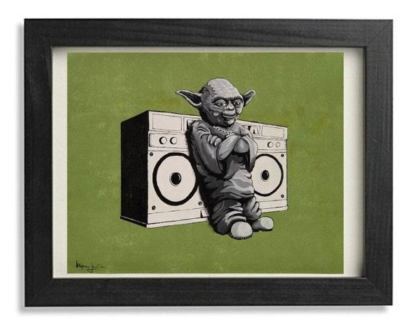 Yoda hip hop with 80s boombox - digital print from my original painting, Star wars inspired