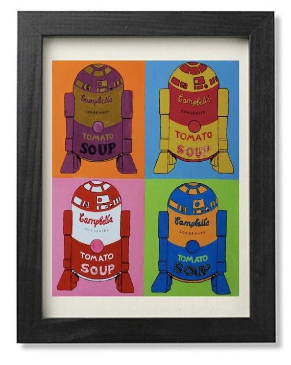 R2D2 tomato soup Andy Warhol campbell's soup parody- digital print cm 20 x 25