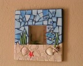 Mosaic Mirror Under the Sea with Seashells