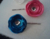 Satin Flower Bobby Pins