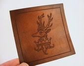 Stag Heraldry - Engraved Leather Patch - Game of Thrones - House Baratheon