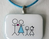 Custom Stick People Family - Personalized Mother Necklace, Handmade Resin