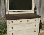 Antique Dresser Changing Table with Mirror Hand Painted Shabby White