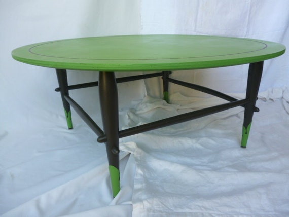 Items Similar To Vintage Round Coffee Table Hand Painted Green And Charcoal Gray Mid Century
