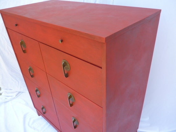Vintage 5 Drawer Dresser Hand Painted Red MCM Asian Style