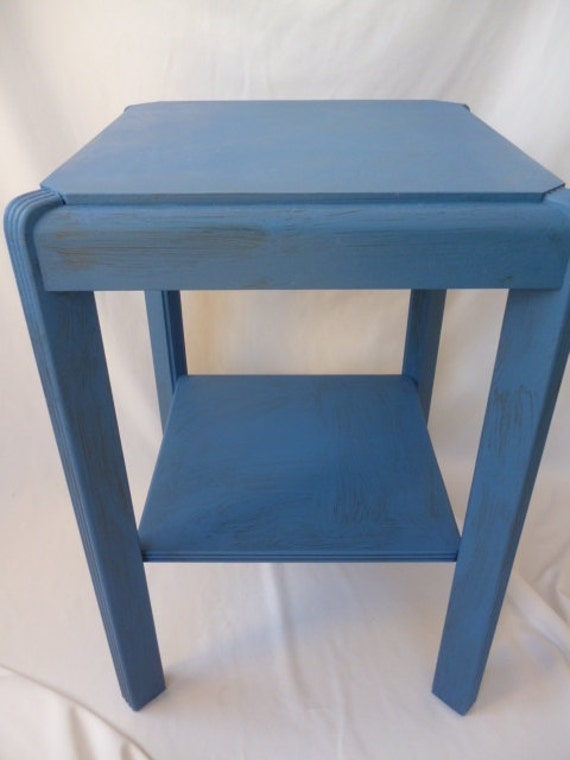 Art Deco Side Table Night Stand Hand Painted Blue