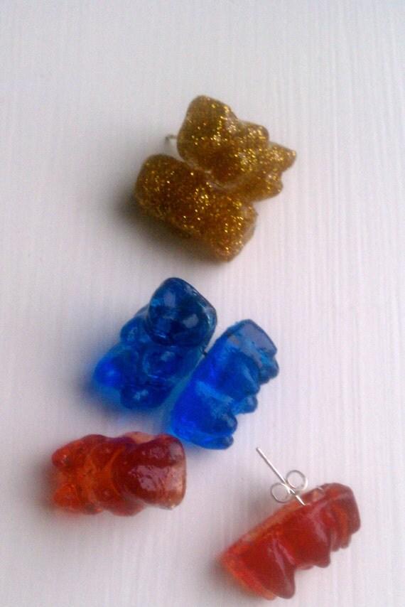 Set of 3 Gummy Bear Stud Earrings