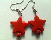 Red Stary Dangle Earrings