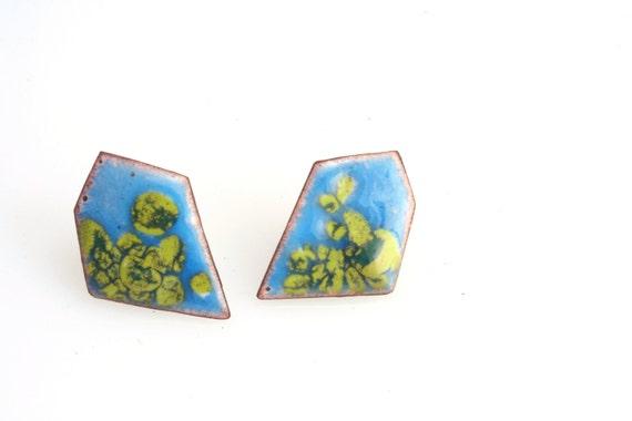 Diamond Shaped Blue and Green Enamel Earrings