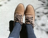 Taupe Bass Oxfords with D Rings and Striped Laces