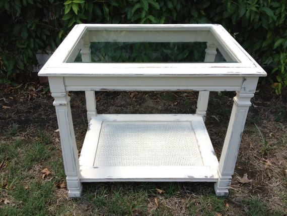 Distressed Glass Top Side Tables - Two Available