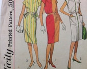 1960s Dress Sewing Pattern Simplicity 4469 Cinched Waist Dress with Pockets