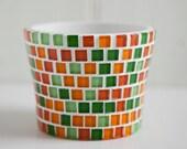 Green and orange mosaic plant pot