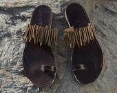 "Leather Sandals, handmade, Coral embellished, ""AMPHITRITE"""