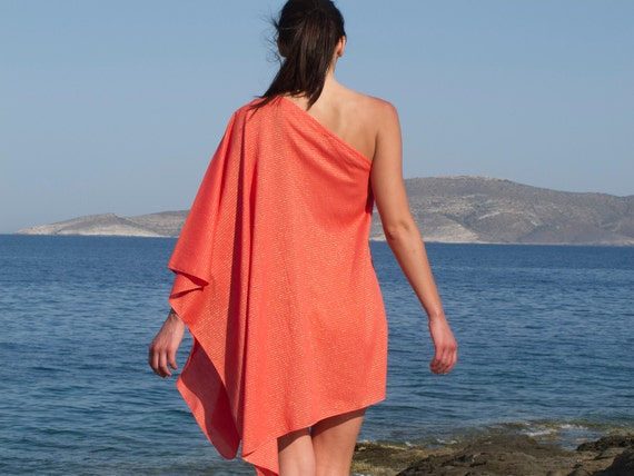 One Shoulder Tunic, Beach Coverup, Kaftan, cotton in coral color with golden stripes.