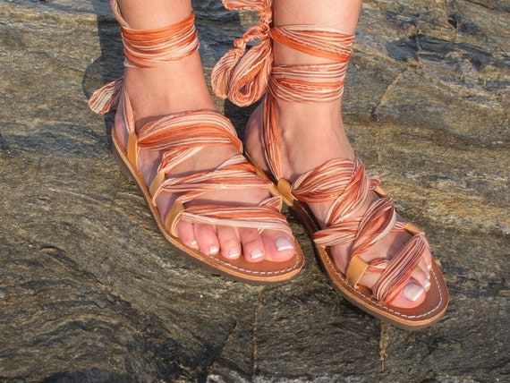 "Special Sale, Leather Sandals, handmade, with silk ribbons ""APHRODITE"" A03. Size European 38. US 7-7,5. Ready to ship."