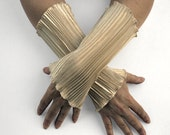 Arm cuffs, wrist warmers, fingerless gloves from shiny champagne satin, Wristlings