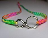 Infinity Bracelet with fluorecent  rainbow nylon thread