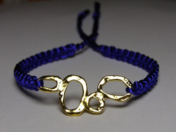 Royal blue satin bracelet with gold finding