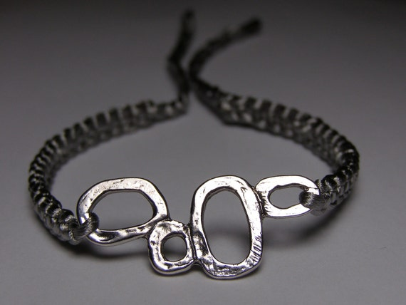 Gray satin bracelet with silvery finding