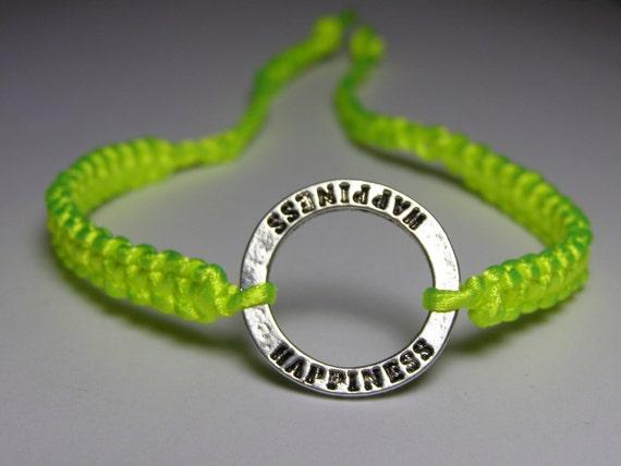 Karma Bracelet with Happiness print and neon yellow nylon thread