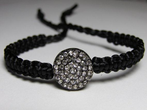 Black bracelet with rhinestones