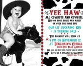Yee Haw Cowboy Cowgirl Birthday Invitation - Customized for you
