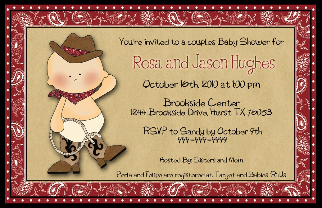 western themed baby shower invitations | alesi,