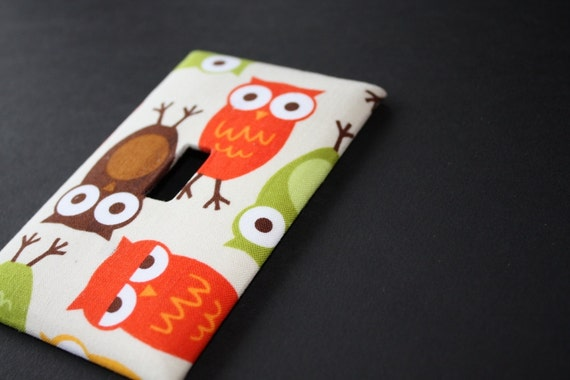 WHOOOO Funky Owl Fabric Covered Light Switch Plate