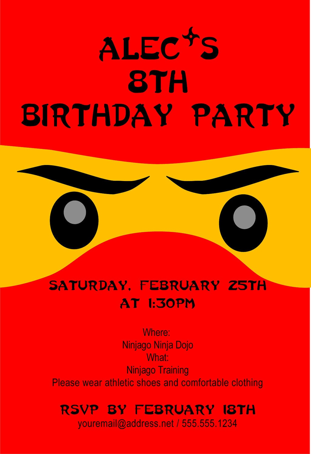 Ninjago Birthday Invitation Personalized Invitation