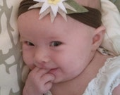 Edelweiss flower headband, handmade with vegan materials & recycled felt (baby-adult sizes)