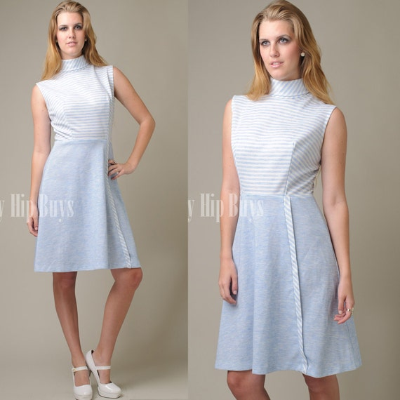 Vintage 60s Mod Blue A-line Knit Day Mini Dress - S/M