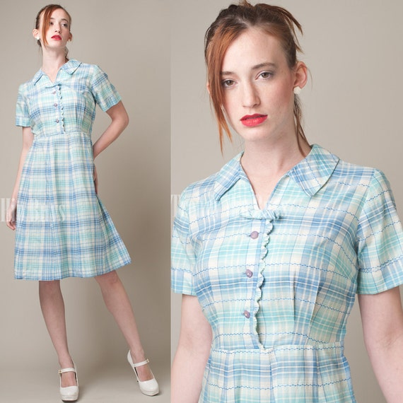 SALE - Vintage 60s Blue Plaid A-line Cotton Summer Dress - M