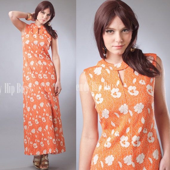 SALE - Vintage 60s MOD Orange Silver Floral Evening Cocktail Maxi Dress - M/L