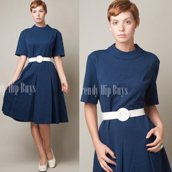 Vintage 60s MOD Blue Scooter A-line Pleated Mini Dress - XL/1XL
