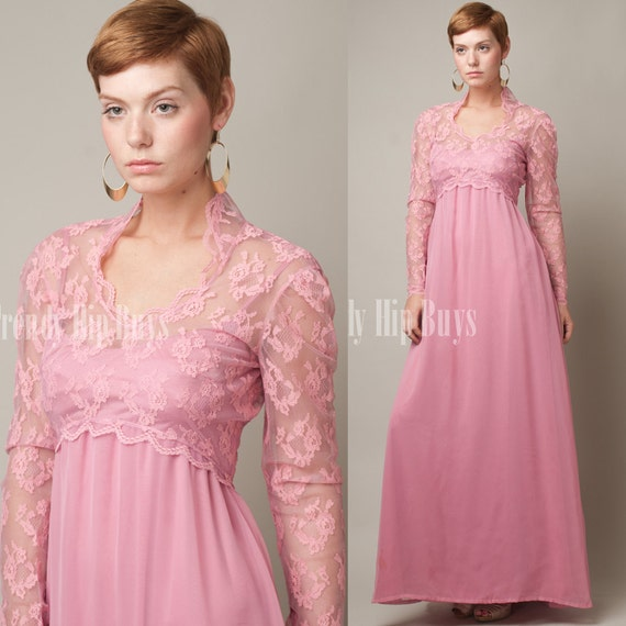 SALE - Vintage 70s Sheer Romantic Pink LACE Empire Evening Dress - XS