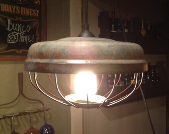 Vintage  Repurposed Chicken Feeder Pendent Light
