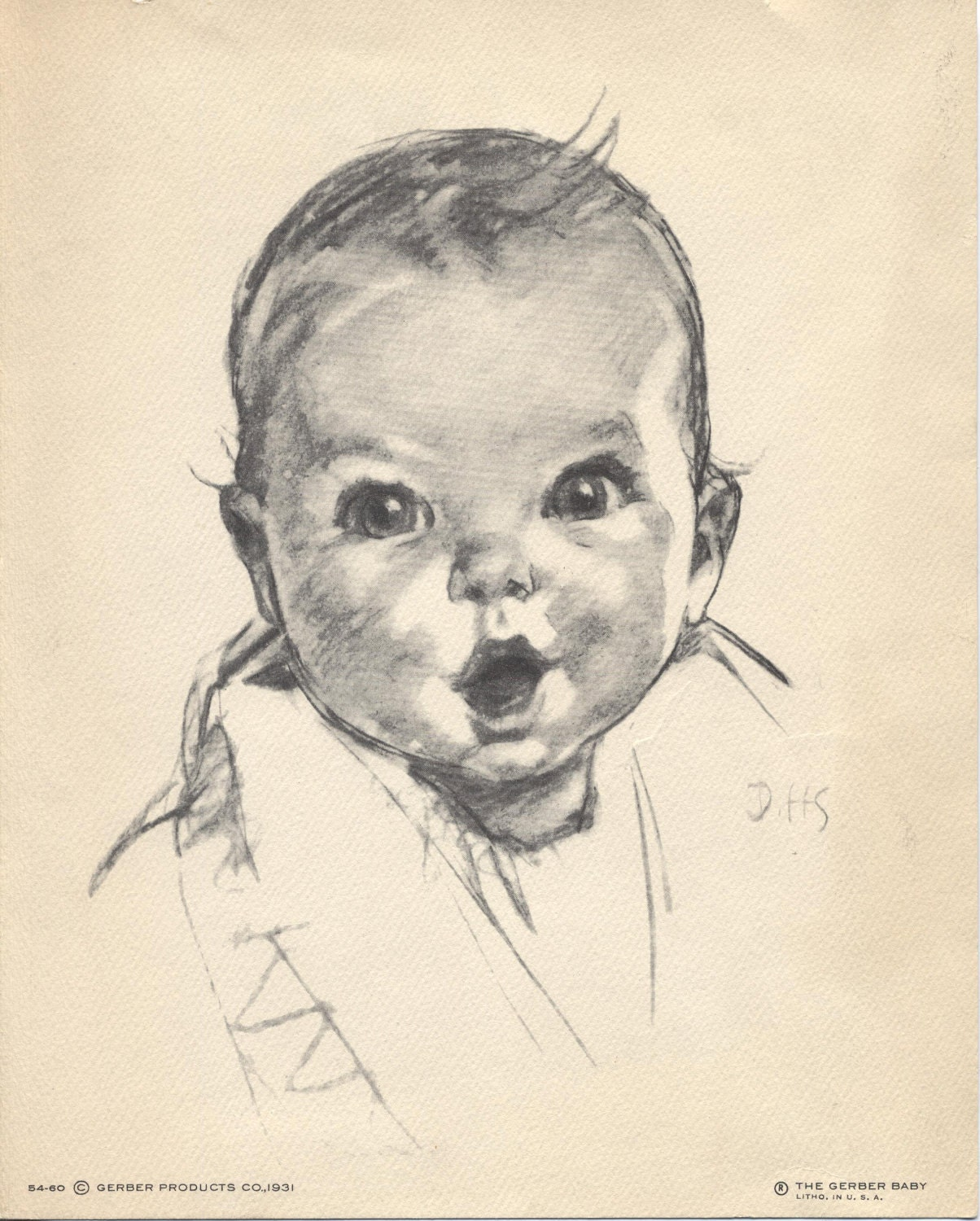 The Gerber Baby Litho Print 54 60 S62 Dated 1931 Original