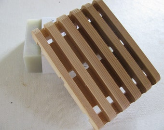 "Soap deck, Soap saver. One all natural western red cedar. 2 3/4"" x 3 3/4"""