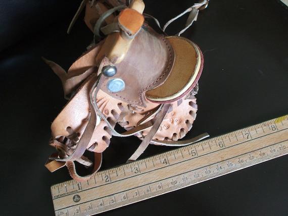 Vintage miniature saddle, leather, western riding toy saddle