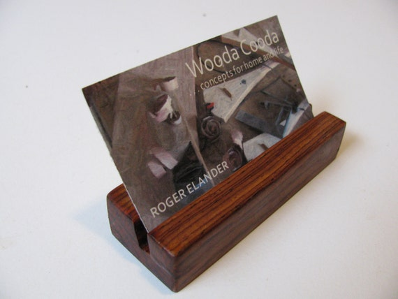 Wood business card holder, custom made from cocobolo wood. Elegant minimalism.