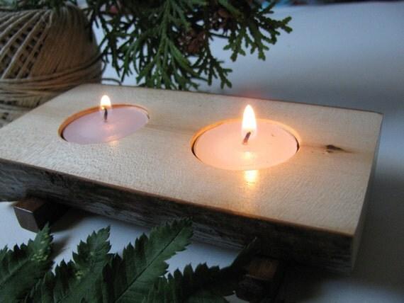 Candle holder Two tealights Natural edge split log.