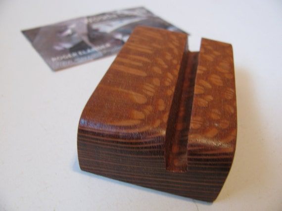 Wood business card holder, custom made from exotic lacewood.