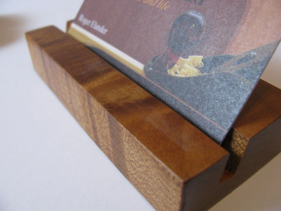 Wood business card holder Cooked flame maple Minimalist