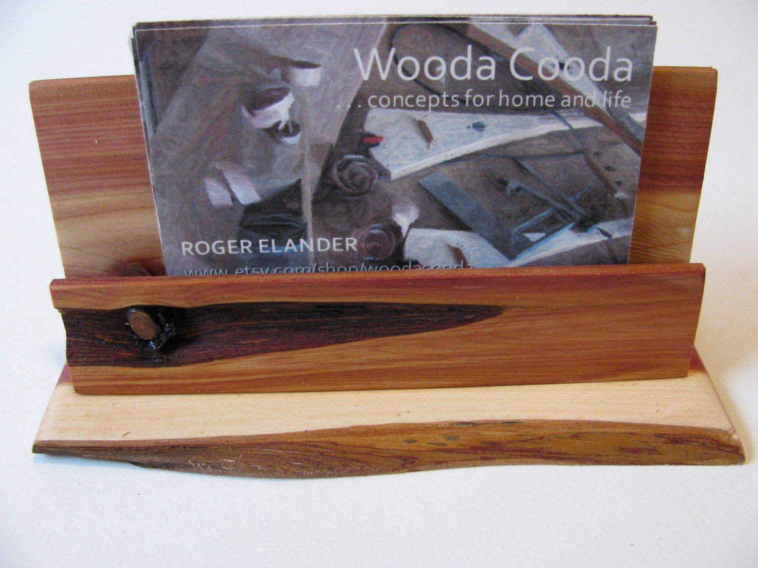 Wood business card holder custom made juniper by woodacooda for Juniper business card